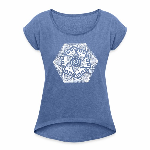Sechseck white - Frauen T-Shirt mit gerollten Ärmeln