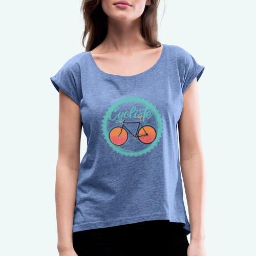 Le Cycliste - Frauen T-Shirt mit gerollten Ärmeln