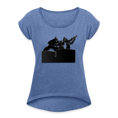 Estatua del Minero Laciana - Camiseta con manga enrollada mujer