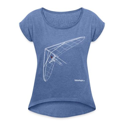 Deltavleugel Joost wit - Vrouwen T-shirt met opgerolde mouwen