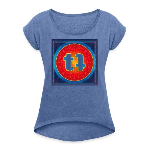 turn turQuoise Logo - Frauen T-Shirt mit gerollten Ärmeln