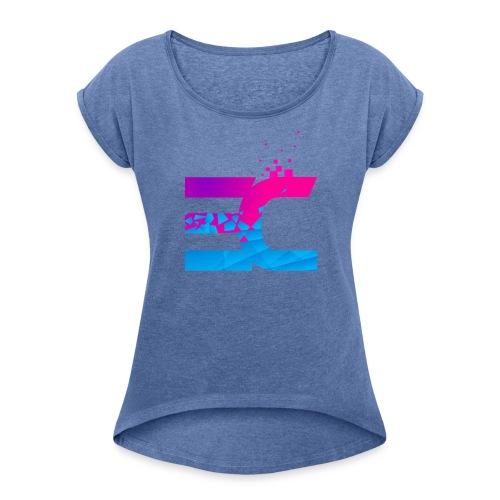 EC Logo - T-shirt med upprullade ärmar dam