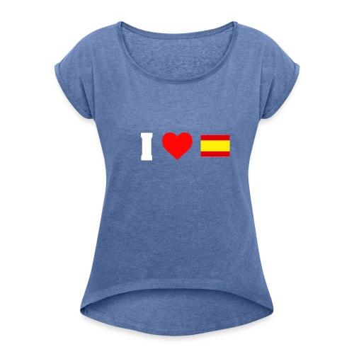 Amo España - Camiseta con manga enrollada mujer