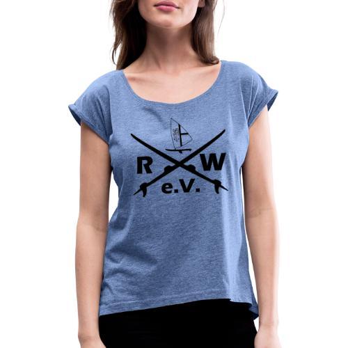 RWeV cross bw - Frauen T-Shirt mit gerollten Ärmeln