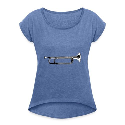 Trompeta blanco y negro - Camiseta con manga enrollada mujer