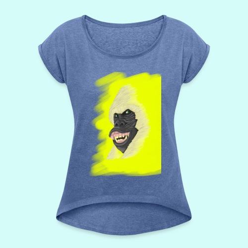 Gorille heureux - T-shirt à manches retroussées Femme