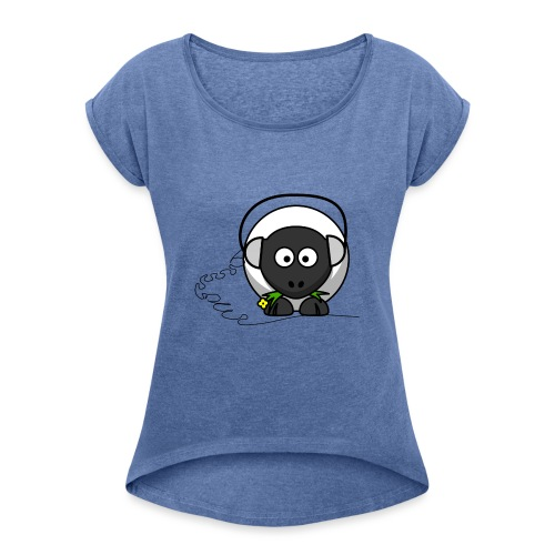 Oveja con cascos - Camiseta con manga enrollada mujer