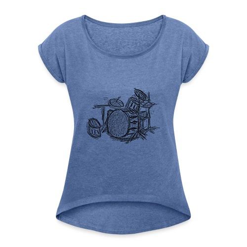 Batería a lapiz - Camiseta con manga enrollada mujer