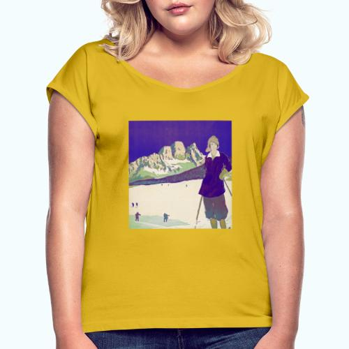 Ski trip vintage poster - Women's T-Shirt with rolled up sleeves