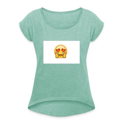 Emoij Hoesje - Vrouwen T-shirt met opgerolde mouwen
