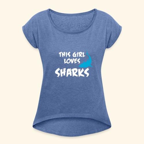 Hai Frauen T-Shirt Englisch - Frauen T-Shirt mit gerollten Ärmeln