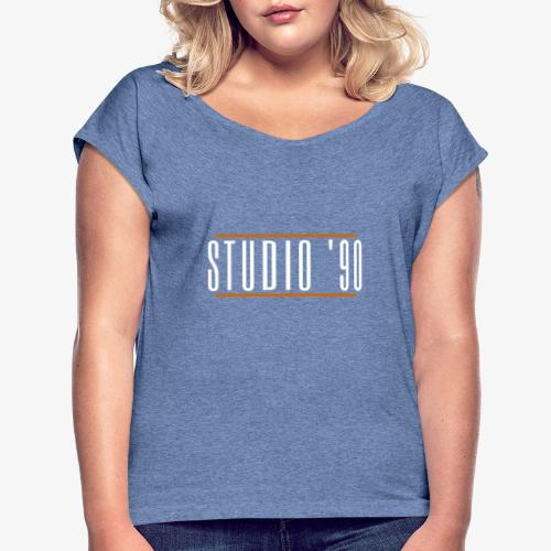 Logo wit Studio 90 - Vrouwen T-shirt met opgerolde mouwen
