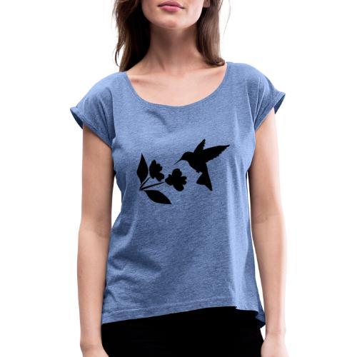 kolibrie met bloem - Vrouwen T-shirt met opgerolde mouwen