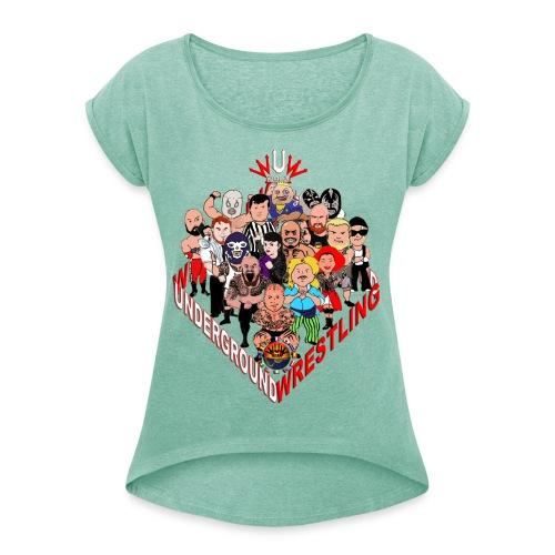 comics-wrestler - Frauen T-Shirt mit gerollten Ärmeln