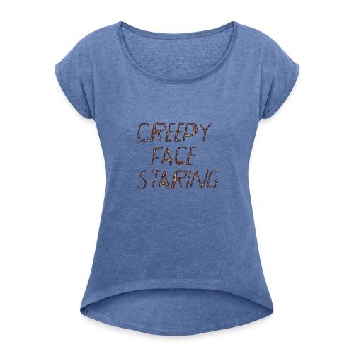 Creepy face staring - Maglietta da donna con risvolti