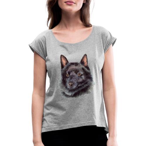 schipperke - M - Dame T-shirt med rulleærmer
