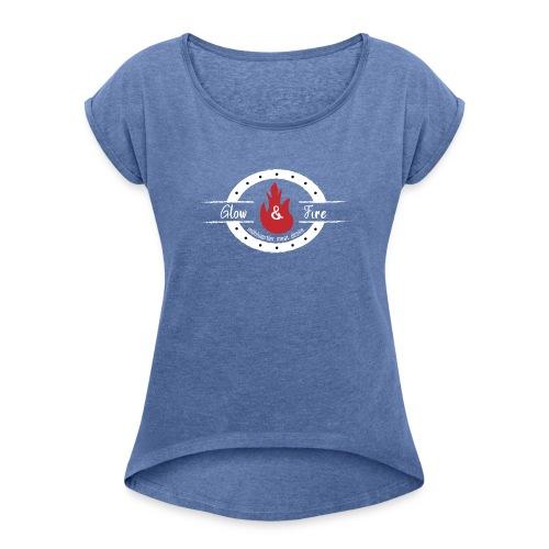 Glow & Fire official-white - Frauen T-Shirt mit gerollten Ärmeln