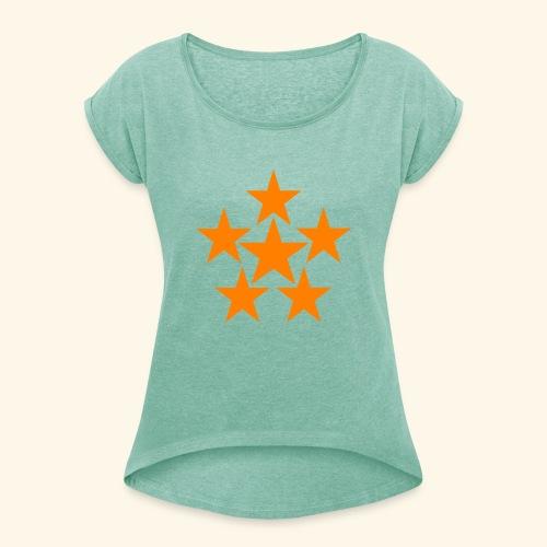 5 STAR orange - Frauen T-Shirt mit gerollten Ärmeln
