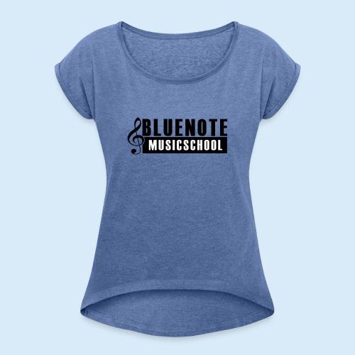 Bluenote Musicschool Logo Schwarz/Weiss - Frauen T-Shirt mit gerollten Ärmeln