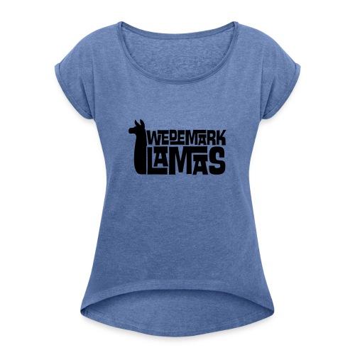 Wedemark Lamas Logo - Frauen T-Shirt mit gerollten Ärmeln