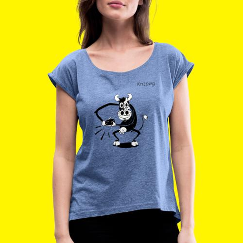 MORE COWBELL - Vrouwen T-shirt met opgerolde mouwen