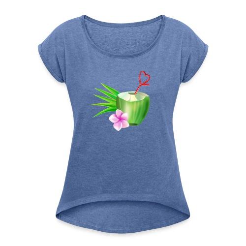 Kokosnuss - Frauen T-Shirt mit gerollten Ärmeln