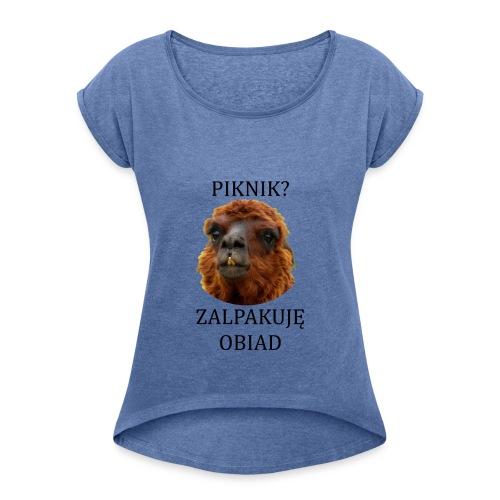 Alpaka piknik - Koszulka damska z lekko podwiniętymi rękawami