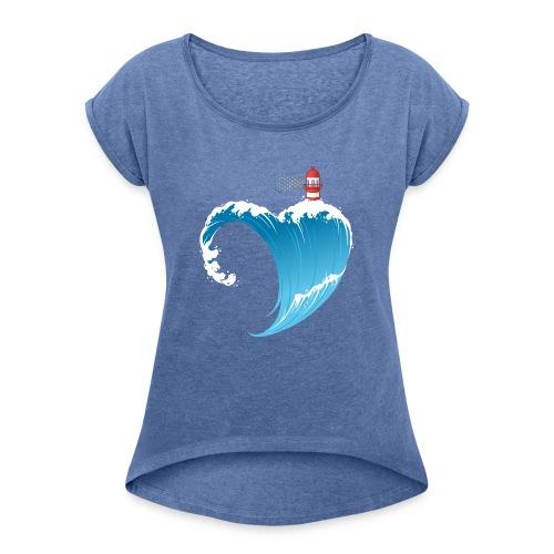 Ostseeherz - Frauen T-Shirt mit gerollten Ärmeln
