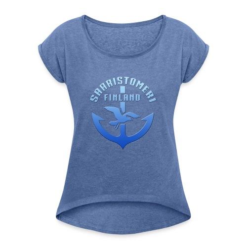 SAARISTOMERI FINLAND ANKKURI Tekstiilit ja lahjat - Naisten T-paita, jossa rullatut hihat