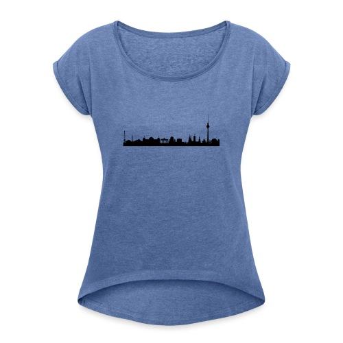 berlin skyline - Frauen T-Shirt mit gerollten Ärmeln