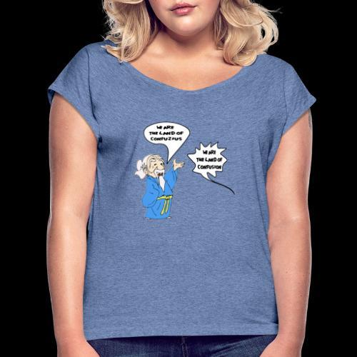 konfuss - Frauen T-Shirt mit gerollten Ärmeln