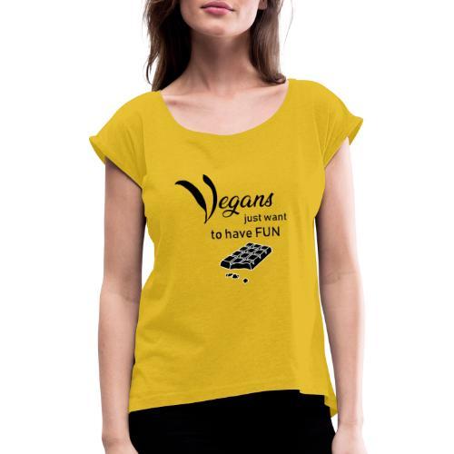 Vegans just want to have fun - tinte chiare - Maglietta da donna con risvolti