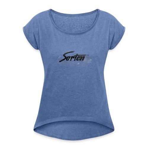 Sorten Logo - T-skjorte med rulleermer for kvinner
