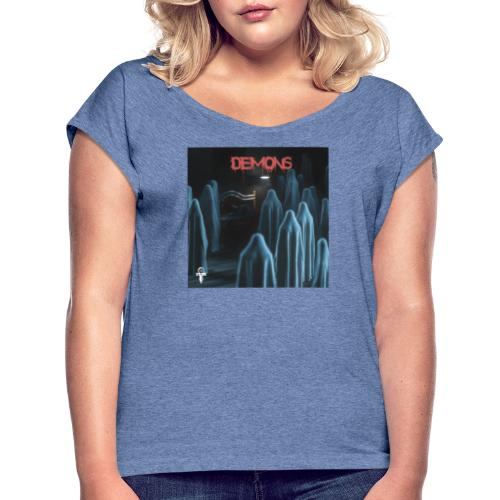 Demons - T-shirt med upprullade ärmar dam
