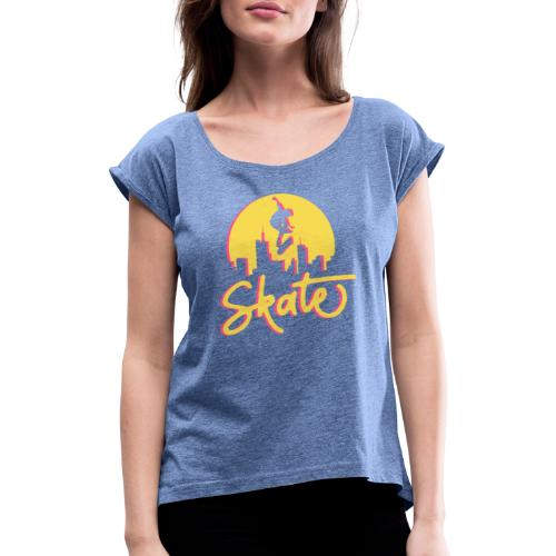 Skate - T-shirt med upprullade ärmar dam