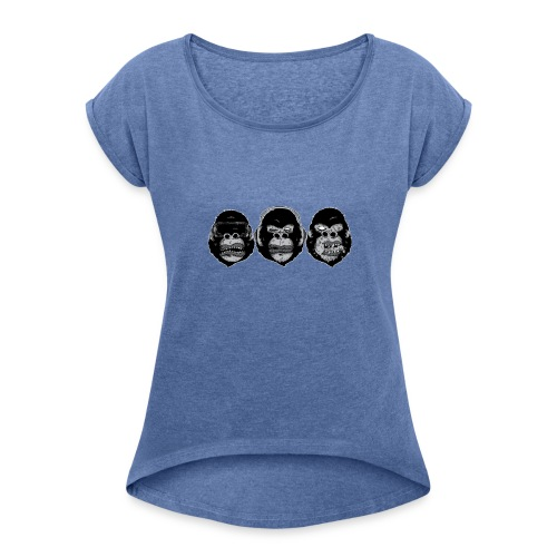 3 Affen - Frauen T-Shirt mit gerollten Ärmeln