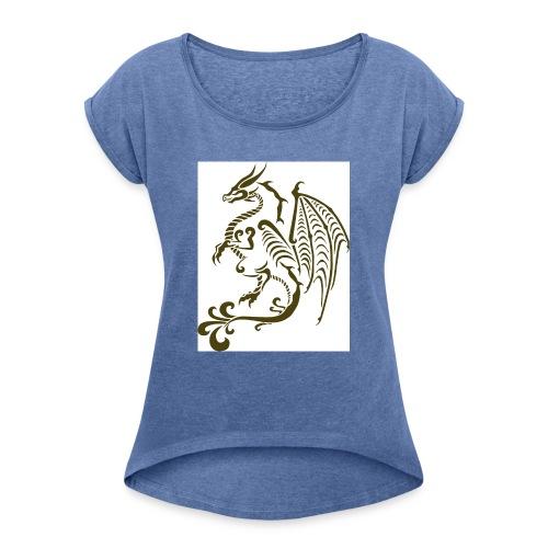 Drachen - Frauen T-Shirt mit gerollten Ärmeln