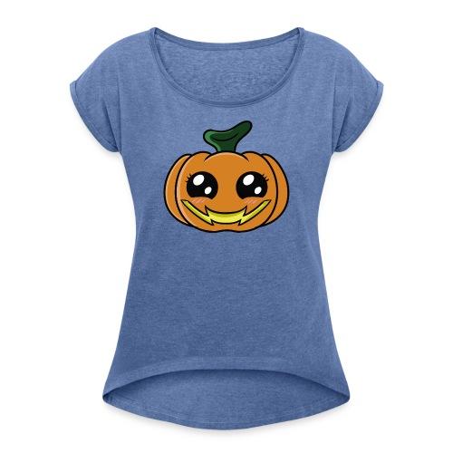 Citrouille d'Halloween Kawaii ! - T-shirt à manches retroussées Femme