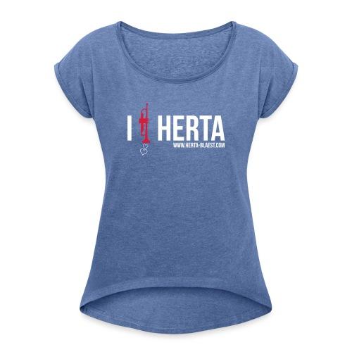 trompete - Frauen T-Shirt mit gerollten Ärmeln