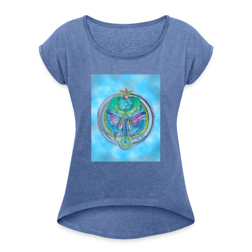 Mother Earth - Frauen T-Shirt mit gerollten Ärmeln