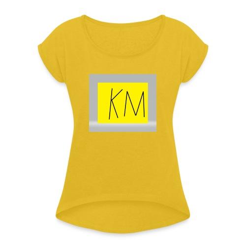 KM logo kleding - Vrouwen T-shirt met opgerolde mouwen