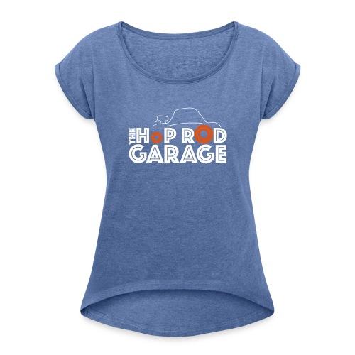 Hop Rod Garage - T-skjorte med rulleermer for kvinner