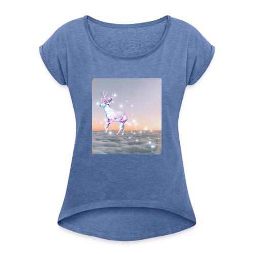 magiczny jelonek - Koszulka damska z lekko podwiniętymi rękawami