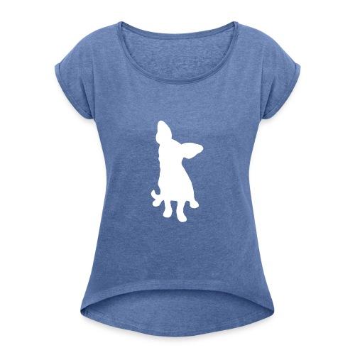 Chihuahua istuva valkoinen - Naisten T-paita, jossa rullatut hihat