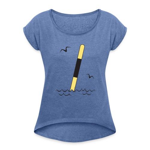 FP25 LÄNSIVIITTA Merimerkit funprint24 net - Naisten T-paita, jossa rullatut hihat