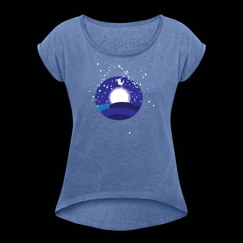 Der Mond hat n Vogel - Frauen T-Shirt mit gerollten Ärmeln