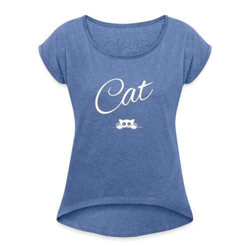 CAT - white logo - T-shirt à manches retroussées Femme