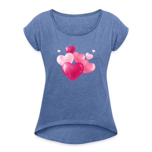 Koszulka miłość 14 - Koszulka damska z lekko podwiniętymi rękawami