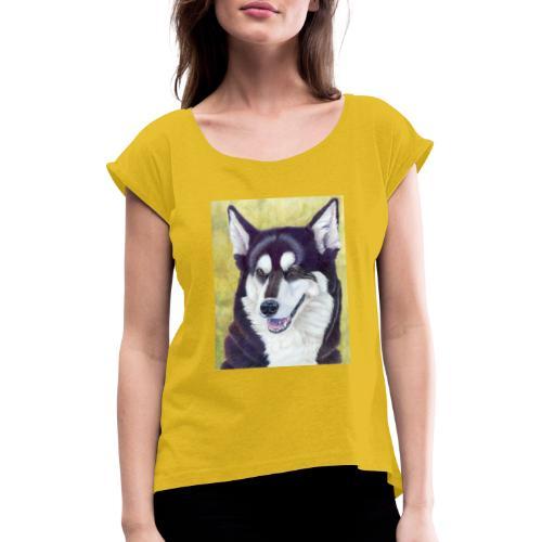 Siberian husky - Dame T-shirt med rulleærmer