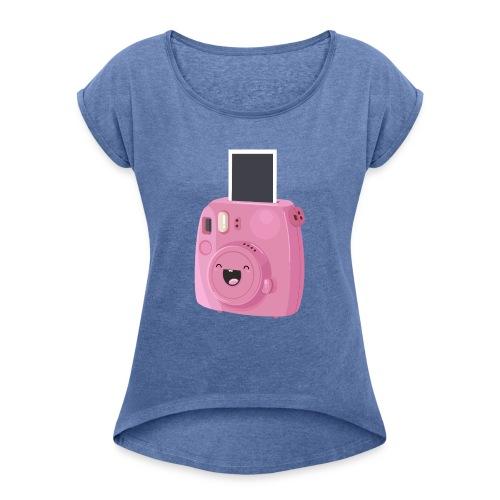 Appareil photo instantané rose - T-shirt à manches retroussées Femme